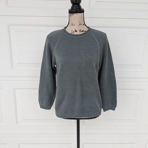 Peruvian Connection Gray 3/4 Sleeve Sweater Small